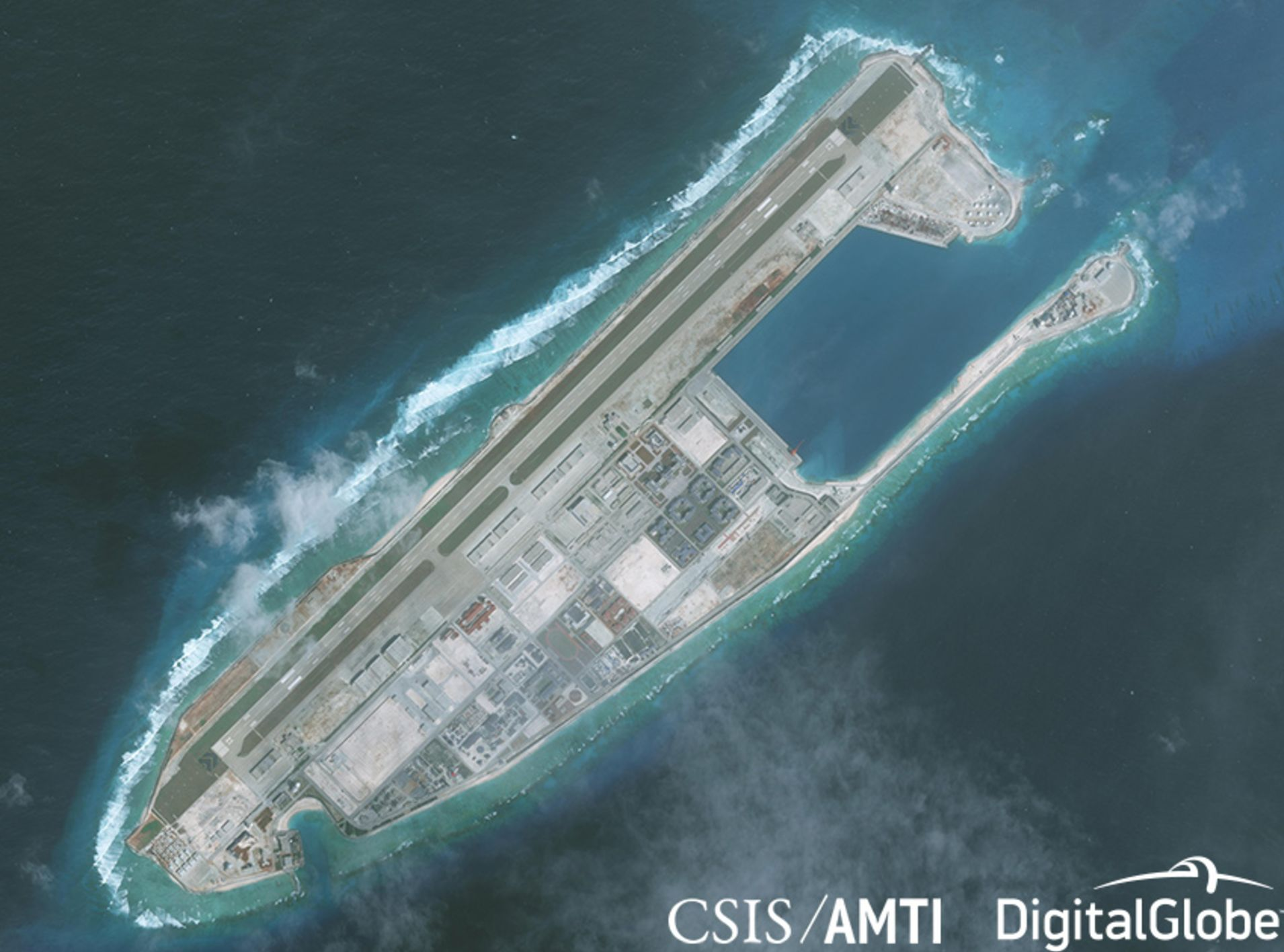 Satellite photo of Fiery Cross Reef in the South China Sea taken on January 1, 2018.