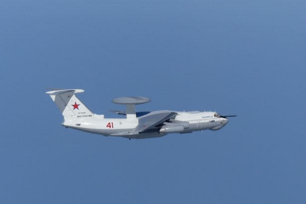 A Russian A-50 military aircraft flies near the disputed islands called Takeshima in Japan and Dokdo in South Korea