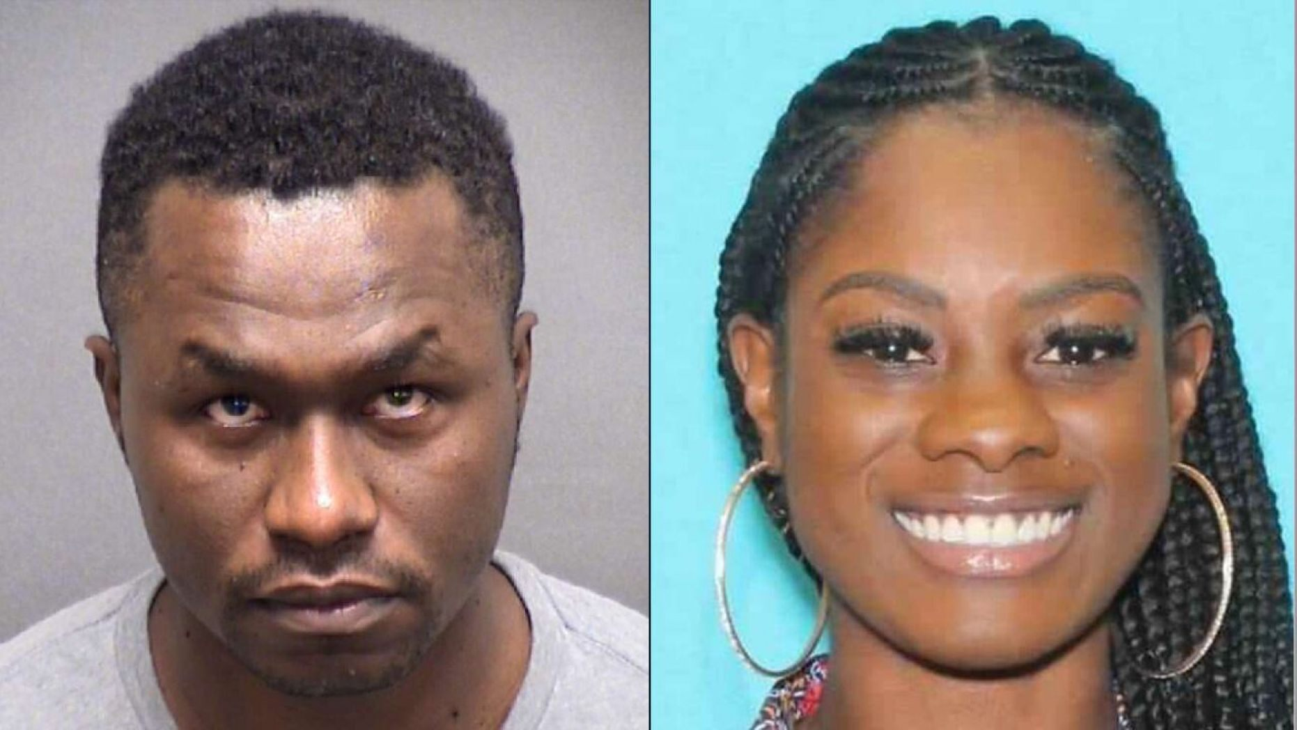 Mugshot, left, for Air Force Maj. Andre McDonald, charged Saturday with murder in the death of his 29-year-old wife