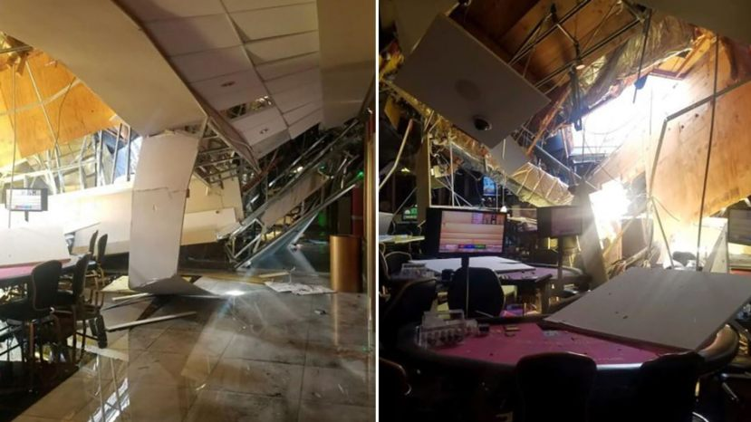 The roof of a Larry Flynt's Lucky Lady Casino in Gardena partially collapsed on Monday.