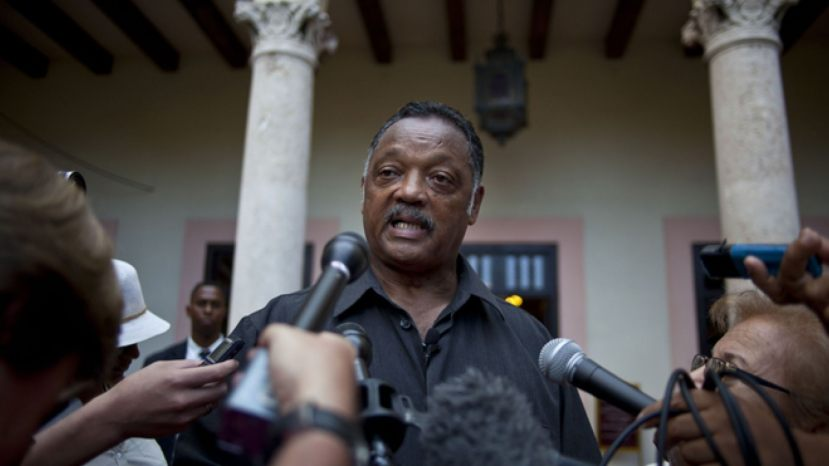The Rev. Jesse Jackson talks with journalists in 2013. (AP)