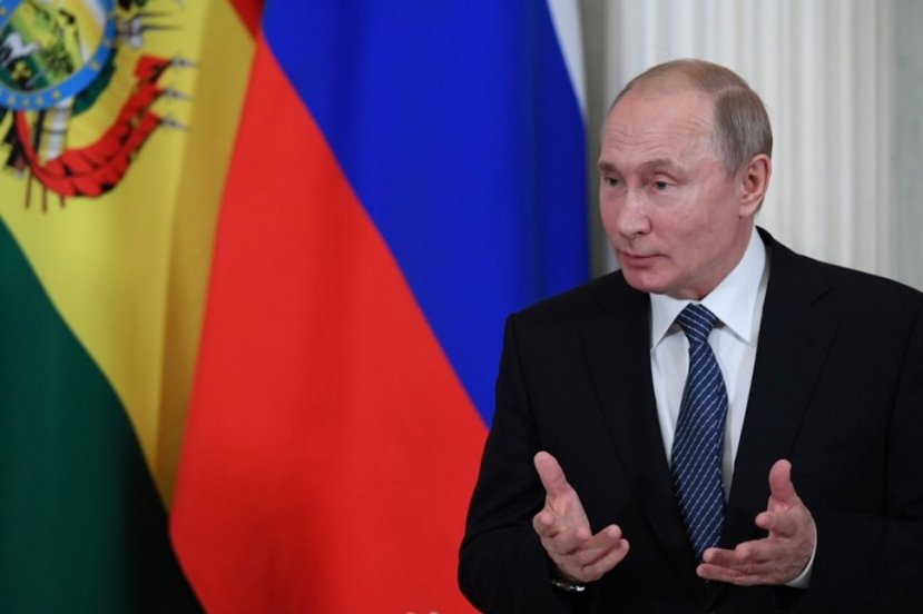 Russian President Vladimir Putin speaks as he meets with his Bolivian counterpart at the Kremlin in Moscow,