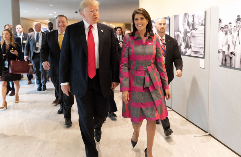 President Donald J. Trump and U.N. Ambassador Nikki Haley arrive Monday, Sept. 24, 2018,