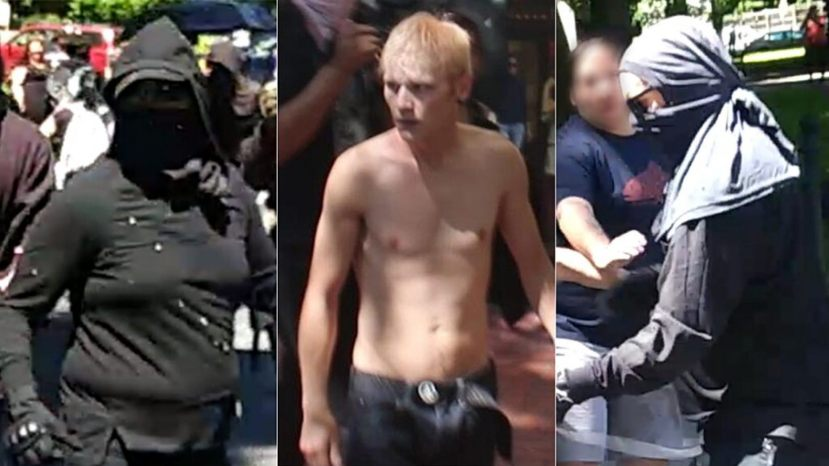 Images of three suspects wanted for robbery and assault in connection to the violent protests in Portland on Saturday.