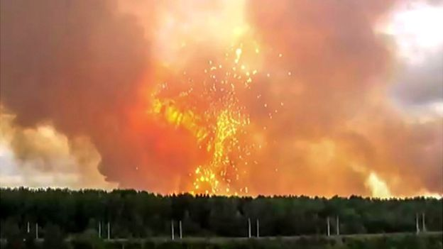 Thunderous detonations continued for hours at the arms dump. AFP