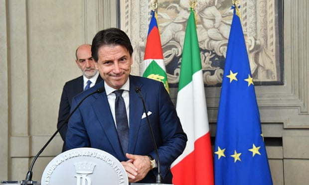 Giuseppe Conte addresses the media after a meeting with Italy's president, Sergio Mattarella, on Thursday.