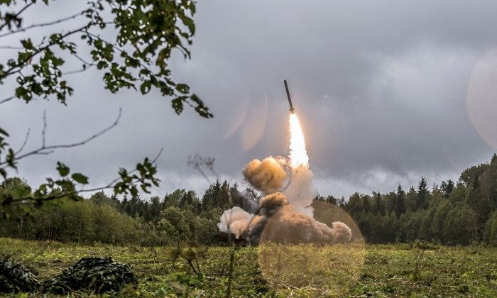 This undated file photo provided Sept. 19, 2017, by Russian Defense Ministry official web site shows a Russian Iskander-K missile launched during a military exercise at a training ground at the Luzhsky Range, near St. Petersburg, Russia.