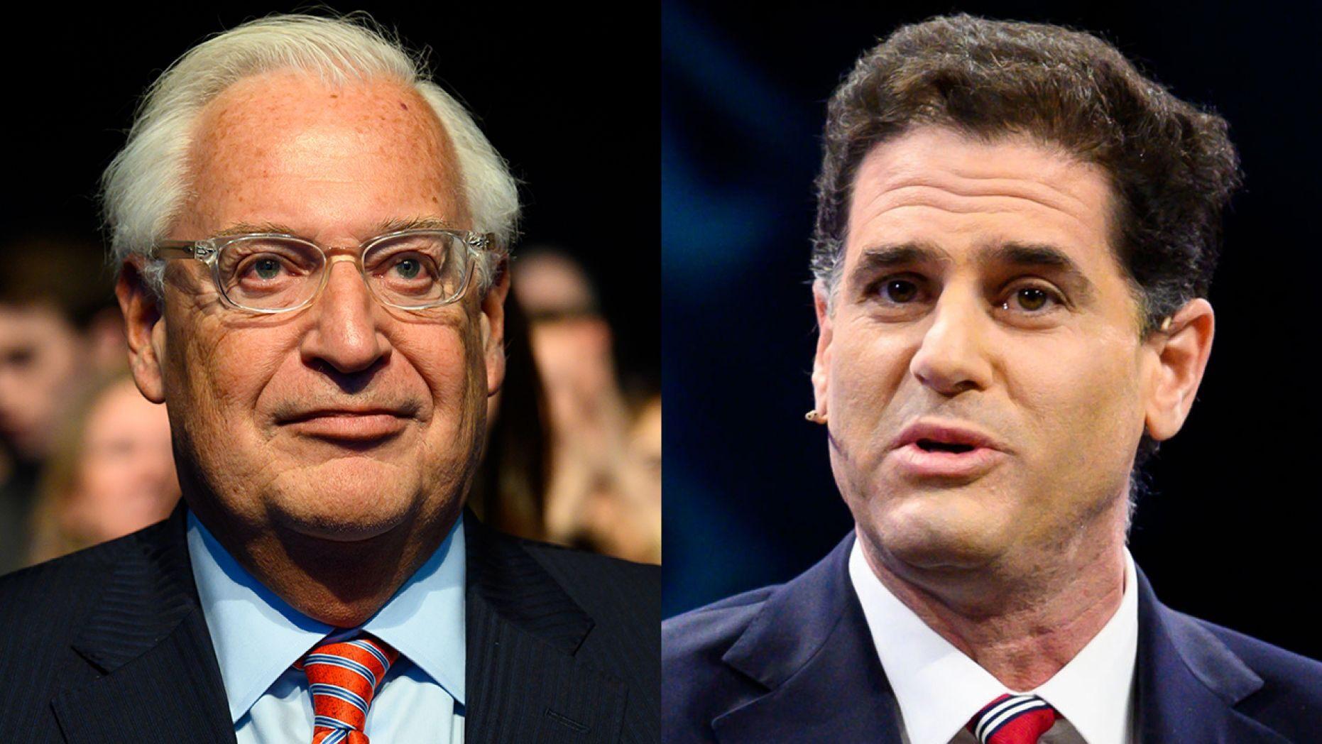 David Friedman, the U.S. ambassador to Israel (left), and Ron Dermer, Israel's ambassador to Washington (right). (Getty).
