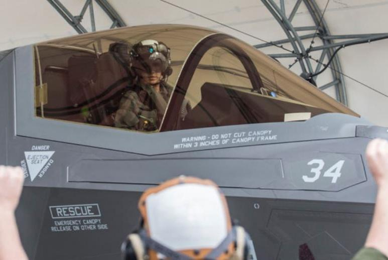 Capt. Anneliese Satz is the first female member of the U.S. Marine Corps to complete the basic course in flying the F-35B Lightning II Joint Strike Fighter plane.