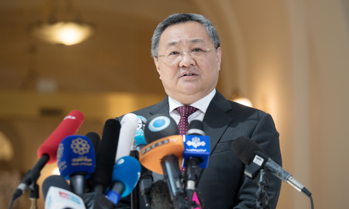 Fu Cong, the director of the Chinese foreign ministry's Arms Control Department speaks to the media at the Palais Coburg in Vienna, Austria on July 28, 2019.