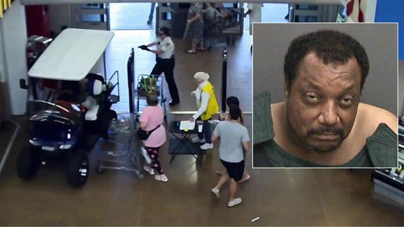 Michael Hudson, 56, allegedly driving a golf cart through the front doors of a Walmart Supercenter.