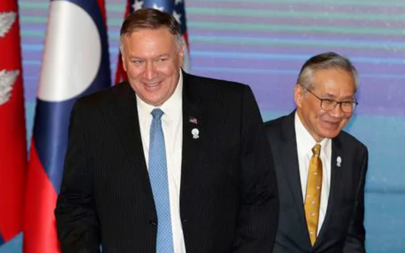 U.S. Secretary of State Mike Pompeo, left, and Thailand's Foreign Minister Don Pramudwinai,