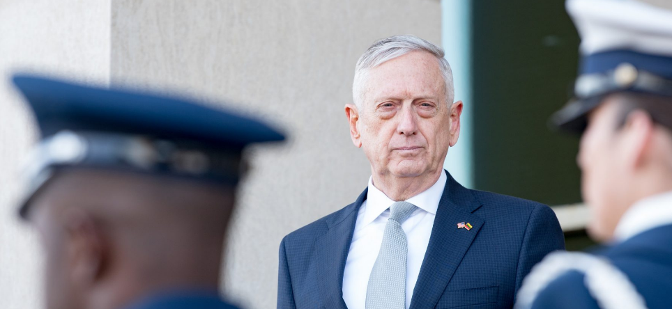 Then-U.S. Secretary of Defense James N. Mattis meets with Lithuania's Minister of National Defence Raimundas Karoblis at the Pentagon in Washington, D.C., Nov. 28, 2018.