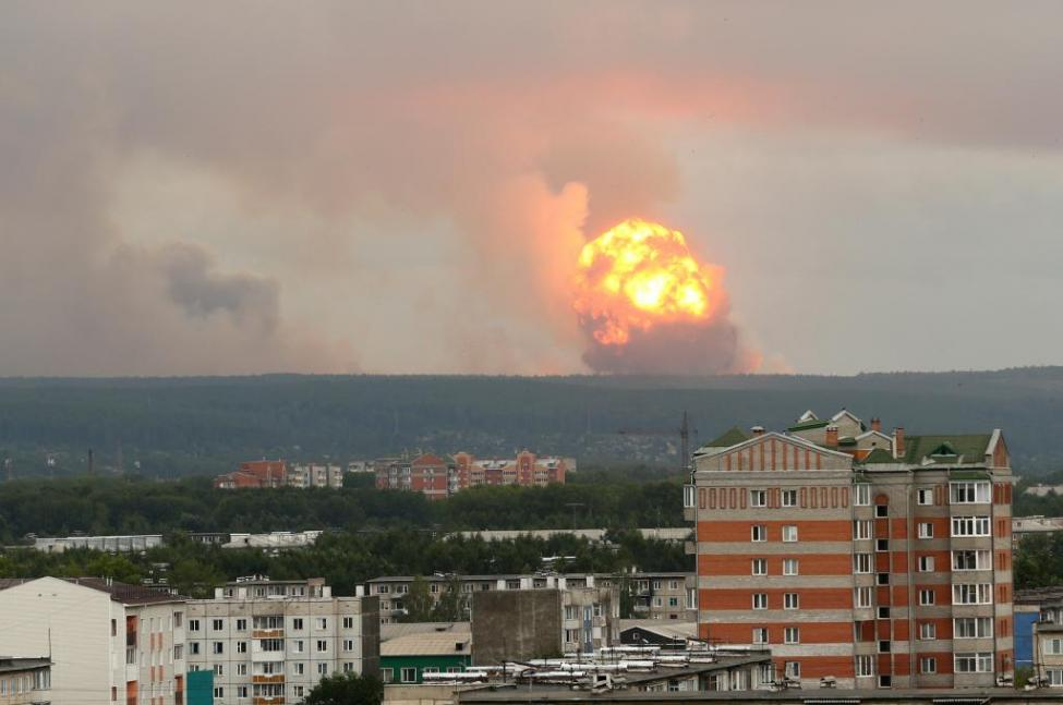 An explosion is seen Monday at a military ammunition depot in the Krasnoyarsk region in Siberia, Russia.