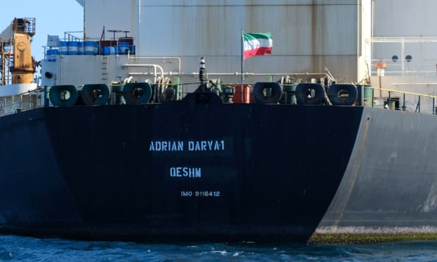 The Adrian Darya 1, pictured above on 30 August, was photographed off the coast of Syria on 6 September.