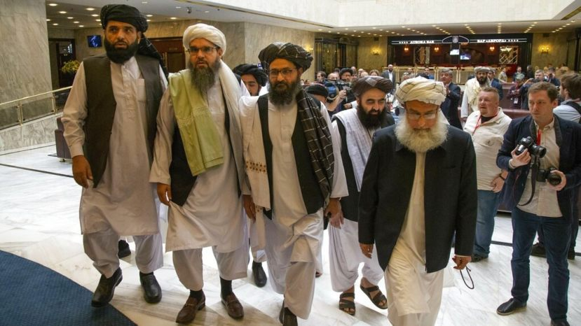 A Taliban delegation arrives for talks in Moscow earlier this year.