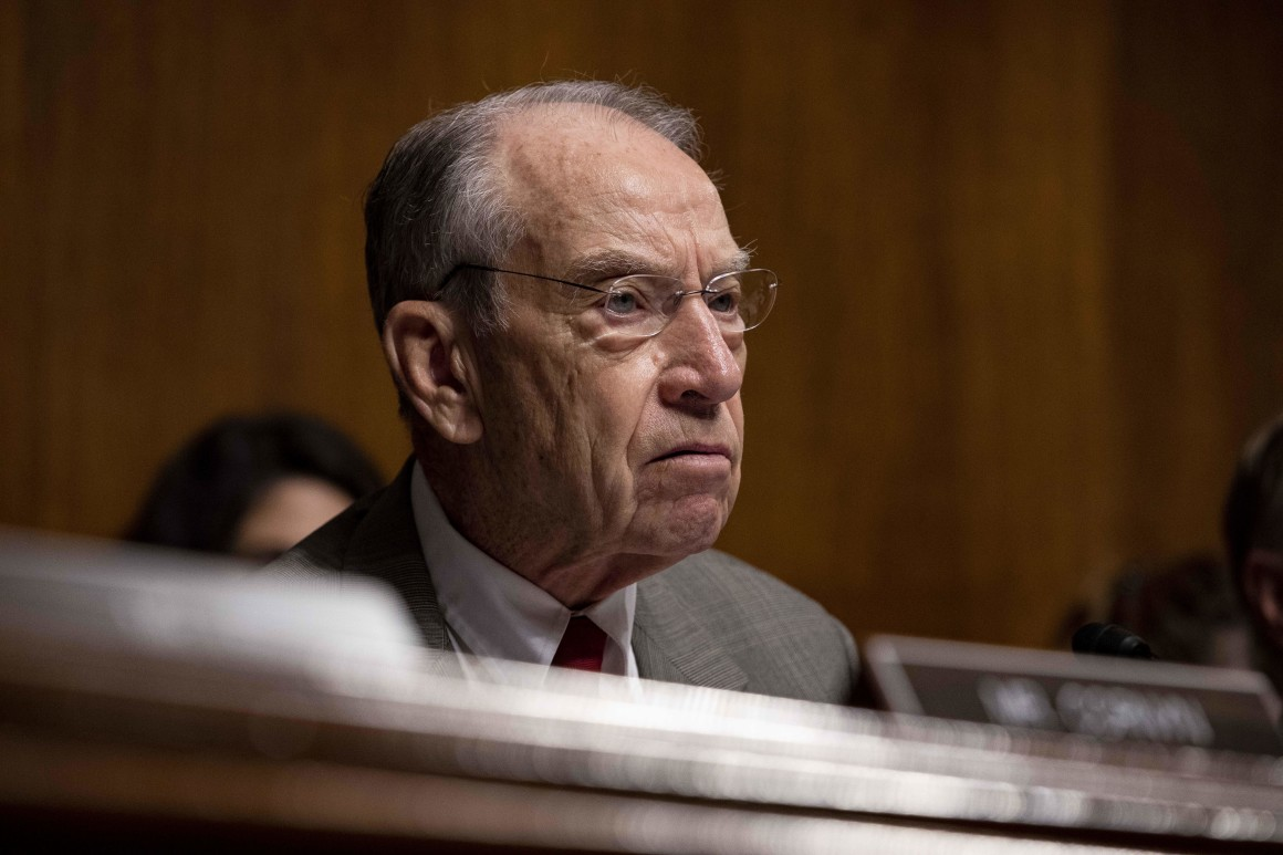 """The Justice Department has yet to inform Congress and the public whether it has begun and investigation into links and coordination between the Ukrainian government and individuals associated with the campaign of Hillary Clinton,"" GOP Sens. Chuck Grassley (above) and Ron Johnson wrote DOJ on Monday."