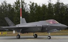 A U.S. Air Force F-35A Lightning II aircraft sits on a runway during Operation Rapid Forge on Powidz Air Base,