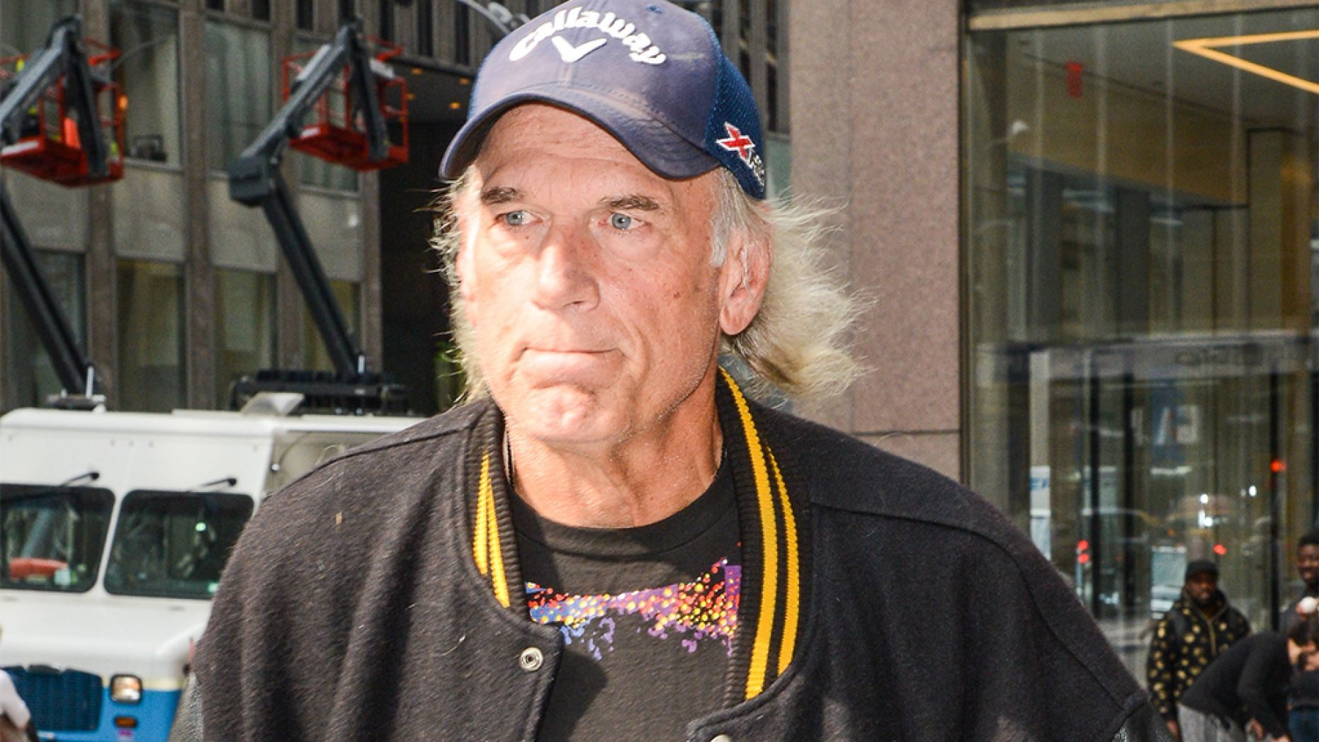 Professional wrestler Jesse Ventura leaves the Sirius XM Studios on October 13, 2015, in New York City.