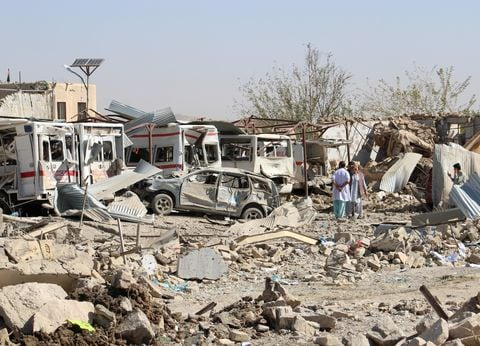 Damaged vehicles are seen at the site of a car bomb attack in Qalat, capital of Zabul province, Afghanistan September 19, 2019.