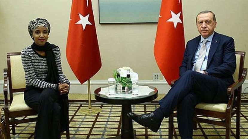 U.S. Rep. Ilhan Omar (D-Minn.) meets with Turkish President Recep Tayyip Erdoğan during the 2017 U.N. General Assembly.