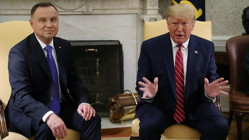 U.S. President Trump speaks while meeting with Poland's President Andrzej Duda in the Oval Office of the White House in Washington, U.S., June 12, 2019.
