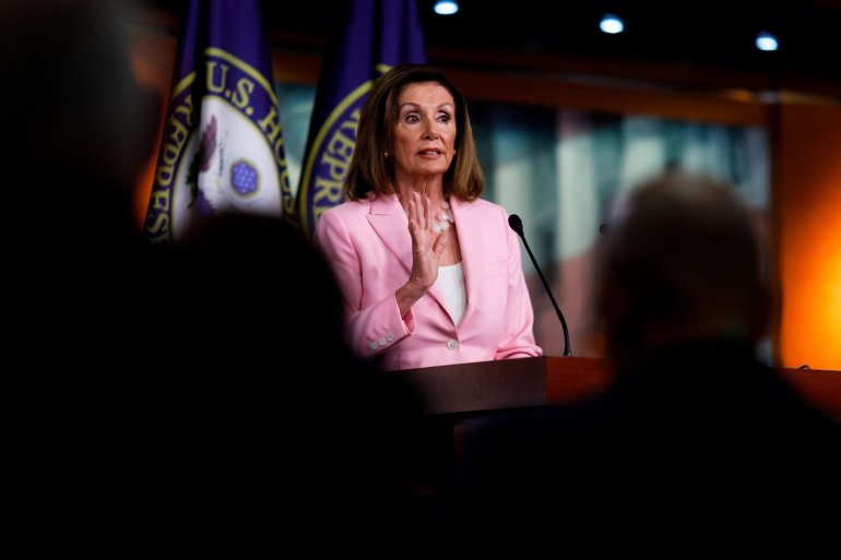 House Speaker Nancy Pelosi is scheduled to meet with six House committee chairmen who are leading investigations into President Donald Trump, ahead of a full caucus meeting to discuss next steps, according to Democratic sources.