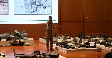 Saudi defence ministry spokesman Colonel Turki Al-Malik displays remains of the missiles which Saudi government says were used to attack an Aramco oil facility, during a news conference in Riyadh, Saudi Arabia September 18, 2019.