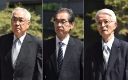 Three former executives from Tokyo Electric Power Company (Tepco), former chairman Tsunehisa Katsumata (R), former vice presidents Ichiro Takekuro (C) and Sakae Muto (L), arriving at the Tokyo District Court, where they were acquitted on Sept. 19, 2019.