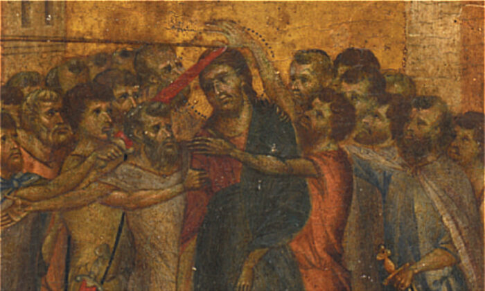 """The renaissance masterpiece painting """"The Mocking of Christ"""" by Florentine artist Cenni di Pepo also known as Cimabue."""
