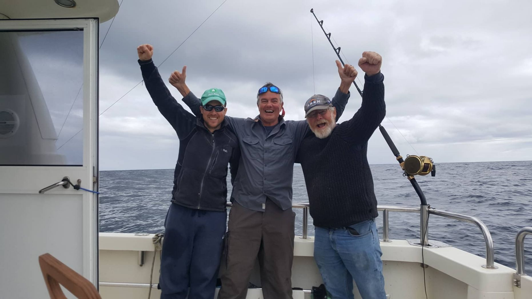 Darren O'Sullivan (left), David Edwards (center) and Henk Veldman (right) were able to catch, tag and release the first-ever bluefin tuna in waters off the south coast of Ireland.