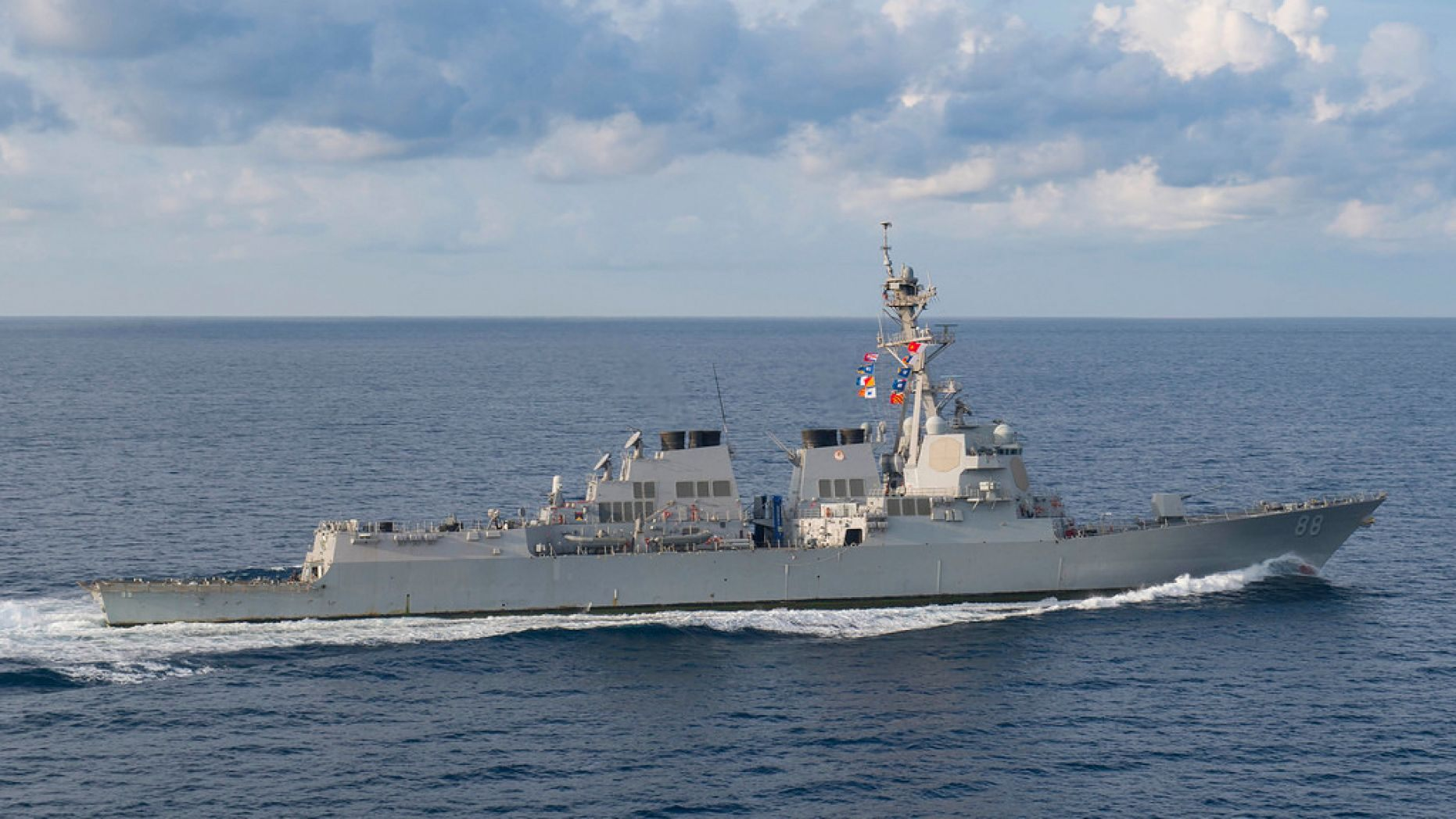 The guided-missile destroyer USS Preble (DDG 88) transits the Indian Ocean.