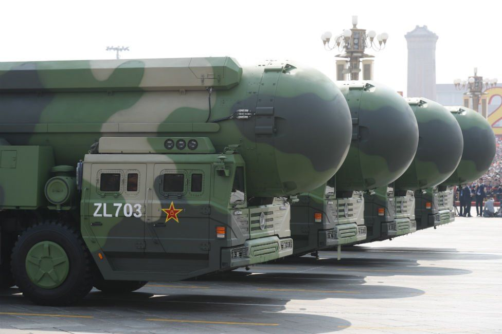 China's military displayed new intercontinental ballistic missiles in public for the first time.