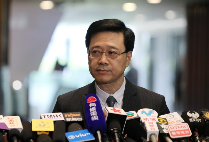 Secretary of Security John Lee Ka-Chiu announces the withdrawal of the extradition bill, in Hong Kong, China October 23, 2019.