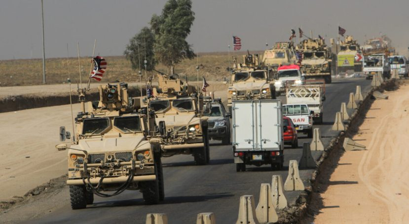 A convoy of U.S. vehicles is seen after withdrawing from northern Syria, on the outskirts of Dohuk, Iraq on Oct. 21, 2019.