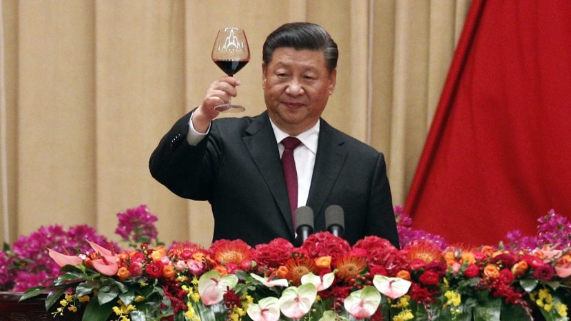 Chinese President Xi Jinping after delivering his speech at a dinner marking the 70th anniversary of the founding of the People's Republic of China at the Great Hall of the People in Beijing, Monday, Sept. 30, 2019.