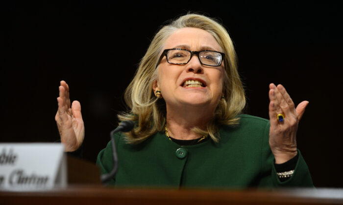 Then-Secretary of State Hillary Clinton testifies before the Senate Foreign Relations Committee on the September 11, 2012 attack on the US mission in Benghazi, Libya, during a hearing on Capitol Hill in Washington on Jan. 23, 2013