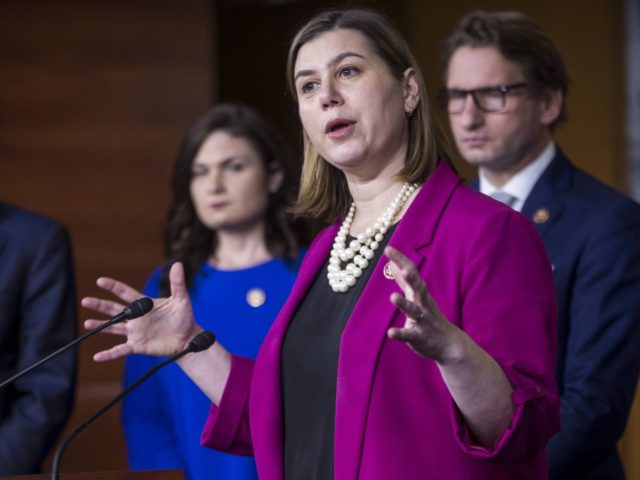 """WASHINGTON, DC - JANUARY 29: Rep. Elissa Slotkin (D-MI) speaks during news conference on the """"Shutdown to End All Shutdowns (SEAS) Act"""" on January 29, 2019 in Washington, DC. Also pictured are Rep. Tom Molinowski (D-Zach Gibson"""