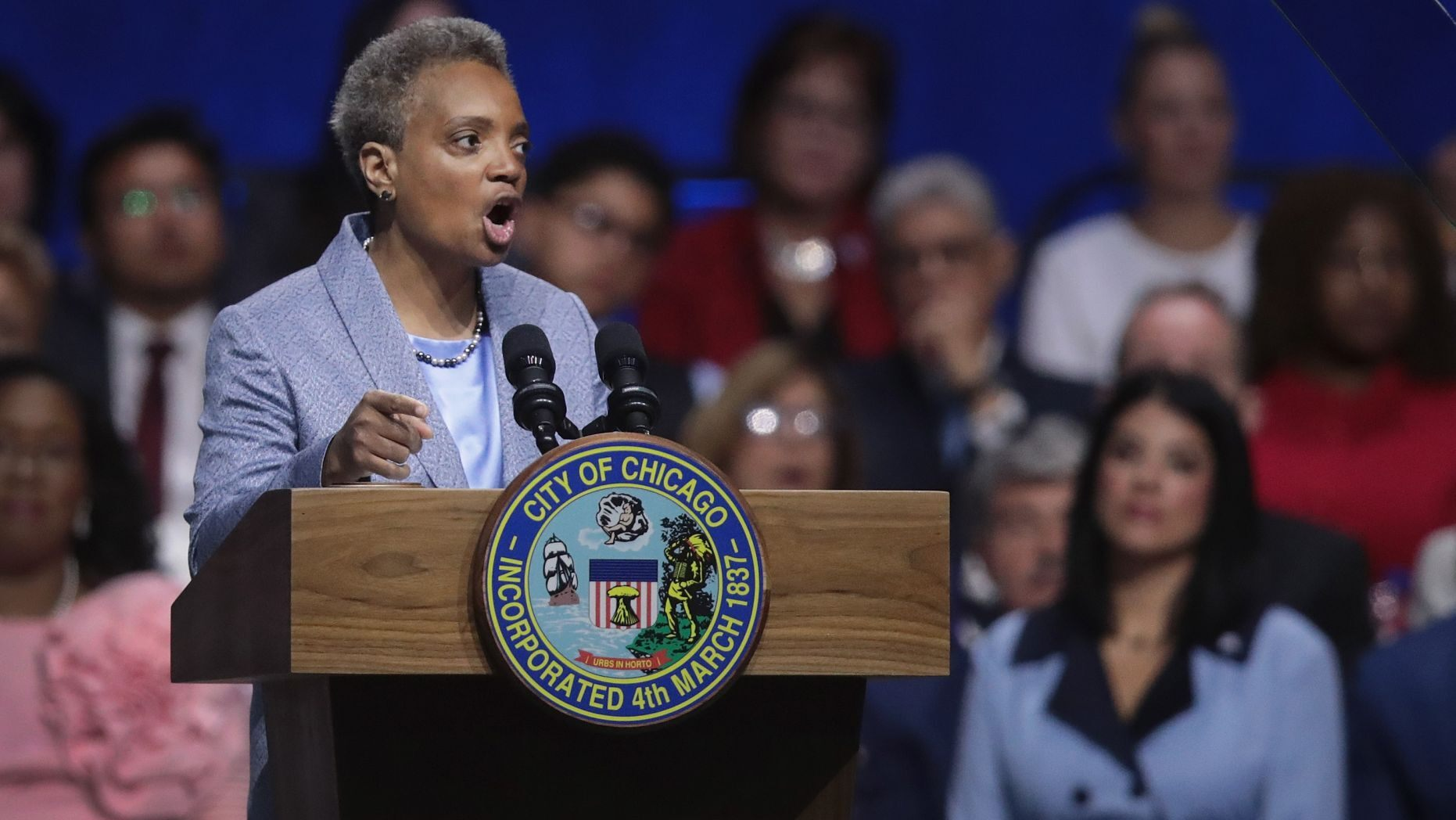 CHICAGO, ILLINOIS - MAY 20: Lori Lightfoot addresses guests after being sworn in as Mayor of Chicago during a ceremony at the Wintrust Arena on May 20, 2019 in Chicago, Illinois. Lightfoot become the first black female and openly gay Mayor in the city's history.