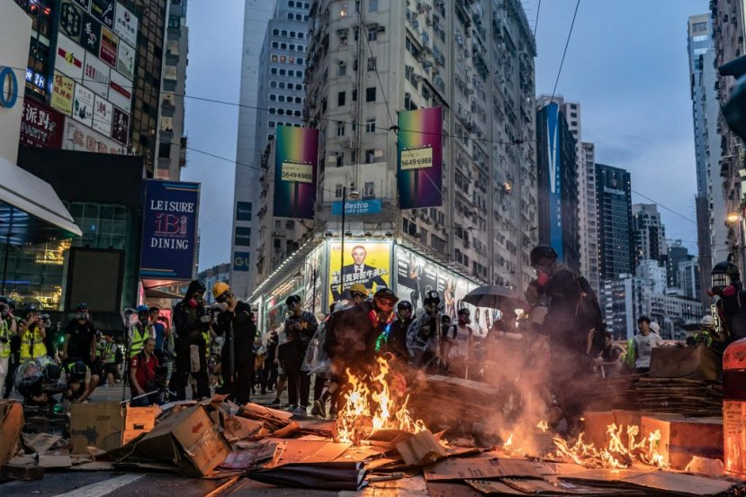 HONG KONG, CHINA - OCTOBER 6: Pro-democracy protesters set barricade on fire at a demonstration in Causeway Bay district on October 6, 2019 in Hong Kong, China.
