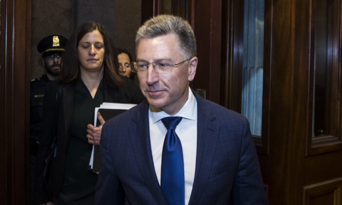 Former Special Envoy to Ukraine Kurt Volker departs following a closed-door deposition led by the House Intelligence Committee on Capitol Hill in Washington on Oct. 3, 2019.