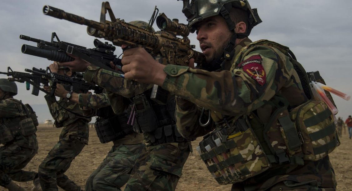 An Afghan National Army Commando squad conducts live fire exercises during training at Camp Pamir, Kunduz province, Afghanistan, Feb. 13, 2018. Commandos spearheaded the Afghan National Army 20th Division's clearance of 25 square miles of terrain in Balkh province, Feb, 24-26.