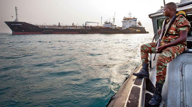 The Benin navy's anti-piracy team on patrol in the Bight of Benin in the Gulf of Guinea.