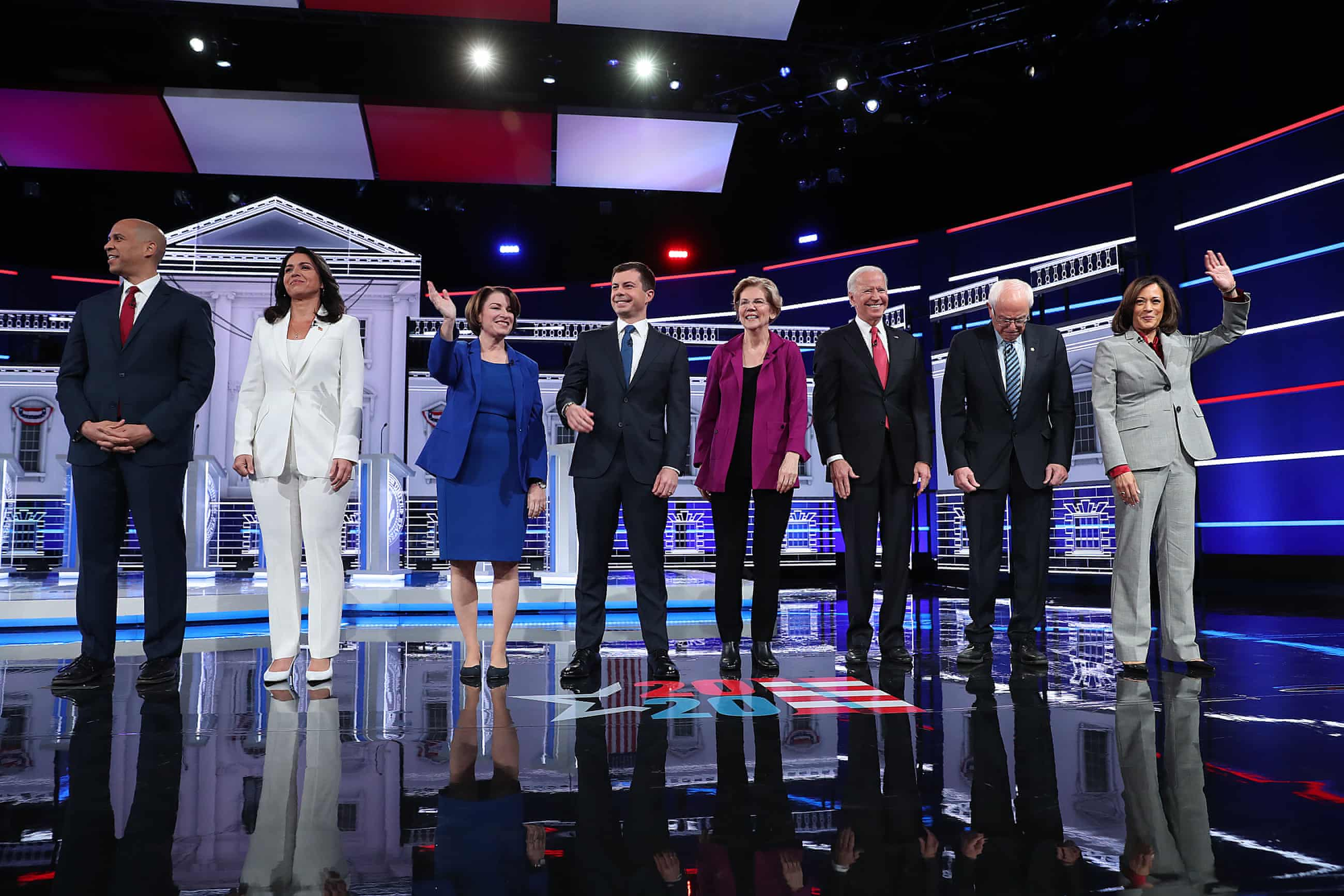 The candidates at the Tyler Perry Studios in Atlanta. Sankara Lumumba, who watched the debate, said the debates had largely become about 'who can beat Trump'.