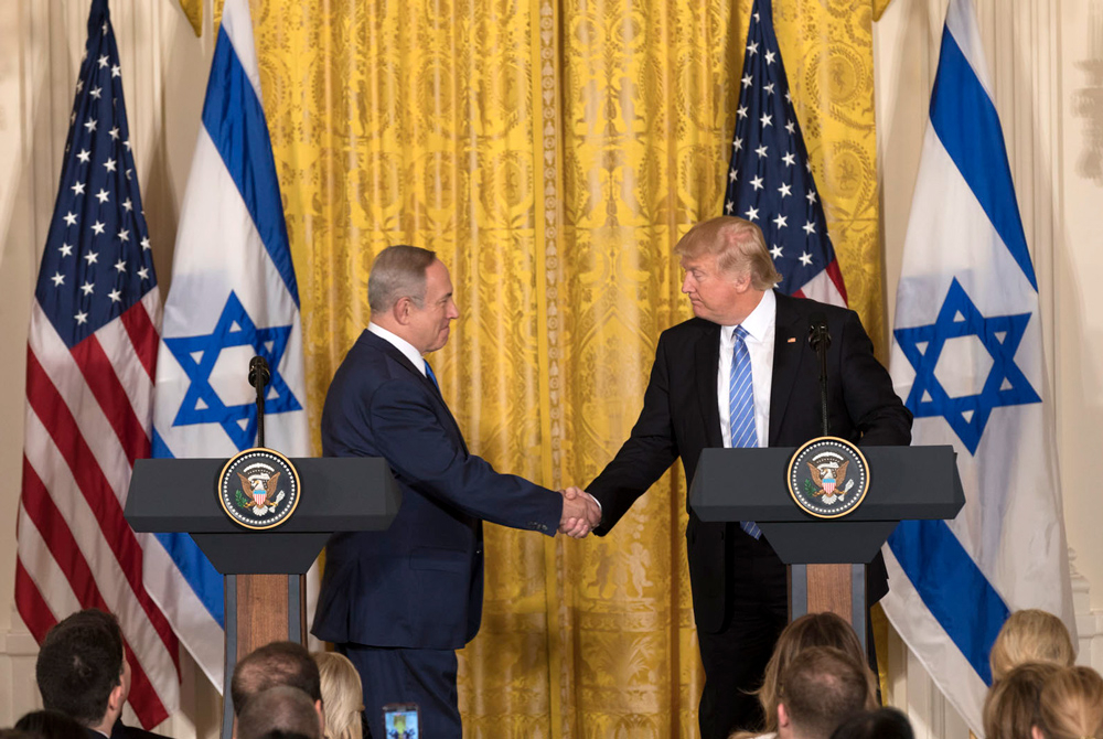 Pictured: Trump and Netanyahu at a joint press conference in Washington, D.C. on February 15, 2017.