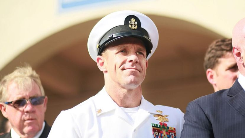Navy Special Operations Chief Edward Gallagher celebrates after being acquitted of premeditated murder at Naval Base San Diego, Calif., on July 2, 2019.
