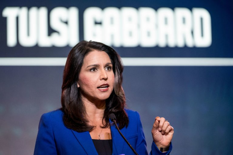 Democratic presidential candidate Rep. Tulsi Gabbard (R-HI) speaks to the crowd during the 2019 South Carolina Democratic Party State Convention on June 22, 2019 in Columbia, South Carolina.