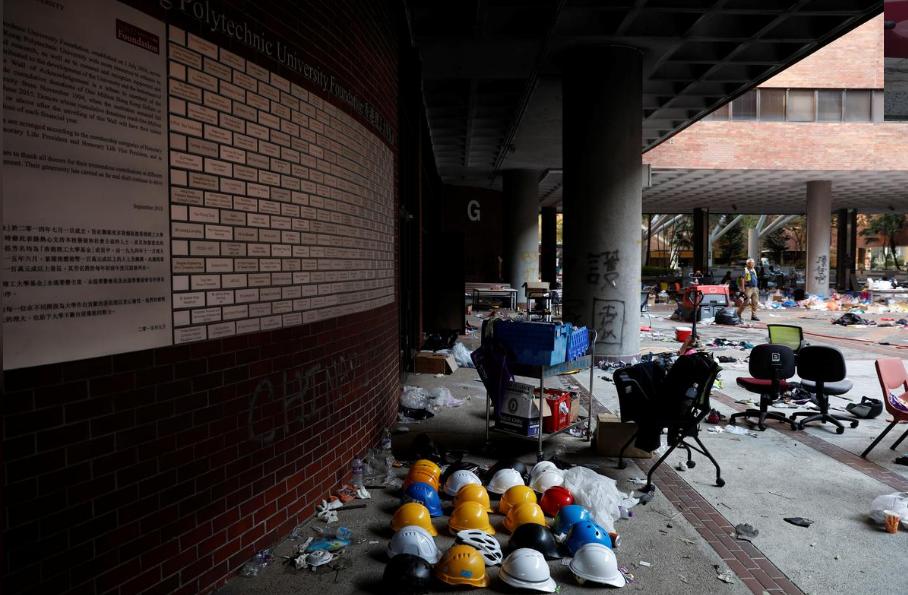 Helmets of protesters are left behind in Hong Kong Polytechnic University (PolyU) in Hong Kong, China November 21, 2019.