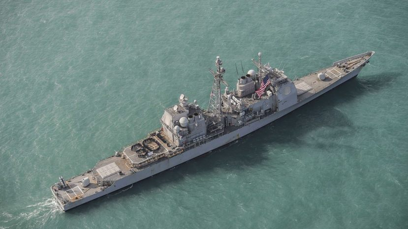 The USS Chancellorsville, pictured here earlier this month, conducted the transit in a move likely to irk China.