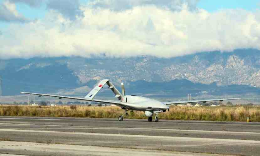 A Turkish military drone lands at Geçitkale airport, in northern Cyprus, on 16 December.